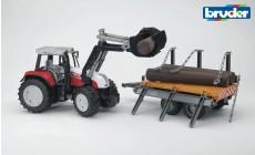 Bruder 02088 - Steyr CVT 170 Traktor mit Frontlader und Holztransportanhänger