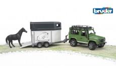 Bruder 02592 - Land Rover Defender mit Pferdeanhänger inkl. 1 Pferd