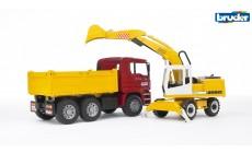 Bruder 02751 -MAN TGA Kipplastwagen mit Liebherr Schaufelbagger