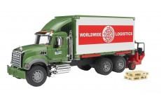 Bruder 02820 - Mack Granite LKW mit Container-Wechselbrücke und Mitnahmestapler