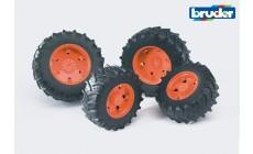 Bruder 03312 (03302) - Traktor Zwillingsbereifung mit orangen Felgen, Premium-Pro