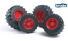 Bruder 03313 (03303) - Traktor Zwillingsbereifung mit roten Felgen, Premium-Pro