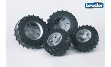 Bruder 03315 (03305) - Traktor Zwillingsbereifung mit grauen Felgen, Premium-Pro