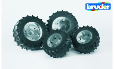 Bruder 03317 (03307) - Traktor Zwillingsbereifung mit silbernen Felgen, Premium-Pro