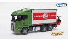 Bruder 03580 - Scania R-Serie LKW mit Container-Wechselbrücke + Mitnahmestapler