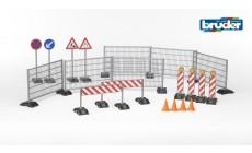 Bruder bworld 62007 - Baustellenset: Zäune, Schilder und Pilonen