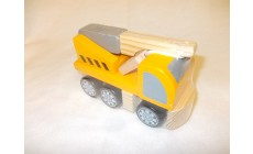 Holz Baufahrzeug - Kranwagen
