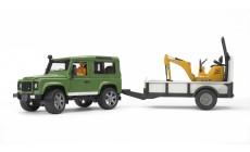 Bruder 02593 - Land Rover Defender Station Wagon mit Einachsanhänger, JCB Mikrobagger