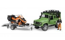 Bruder 02594 - Land Rover Defender Station Wagon, Anhänger, Snowmobil und Fahrer