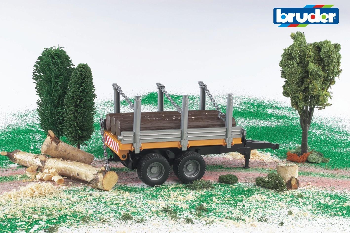 bruder 02213 Holzanh/änger mit 3 Baumst/ämmen