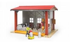 Bruder bworld 62621 - Kuhstall mit Melkmaschine, Kuh und Figur