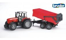 Bruder 02045 - Massey Ferguson 7480 Traktor mit Wannenkippanhänger