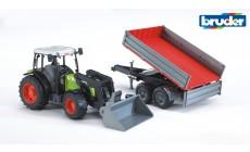 Bruder 02112 - Claas Nectis 267 F Traktor mit Frontlader und Bordwandanhänger