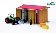 Bruder bworld 62620 - Landmaschinenhalle mit Figur und Traktor Fendt 209S